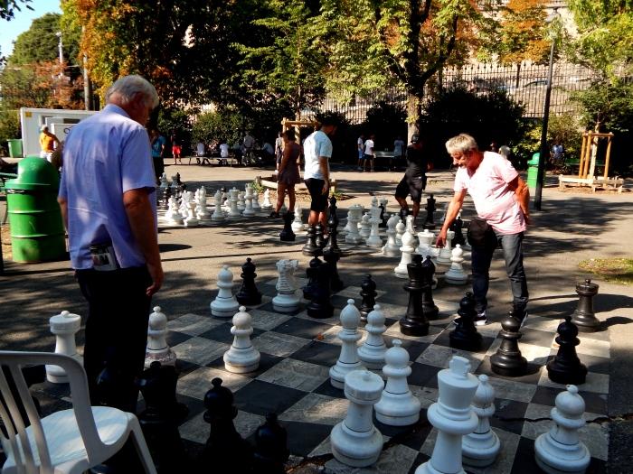 Jeu d'échecs au Parc des Bastions
